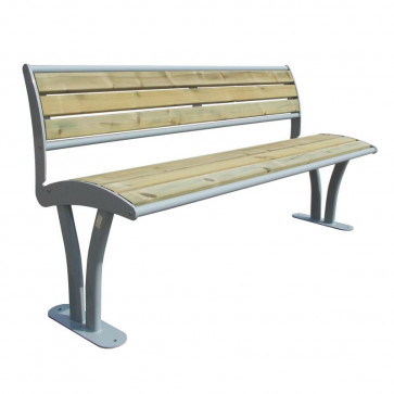 Tauri Wood Bench with Backrest